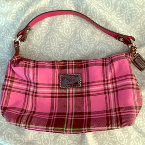 Pink plaid Coach handbag